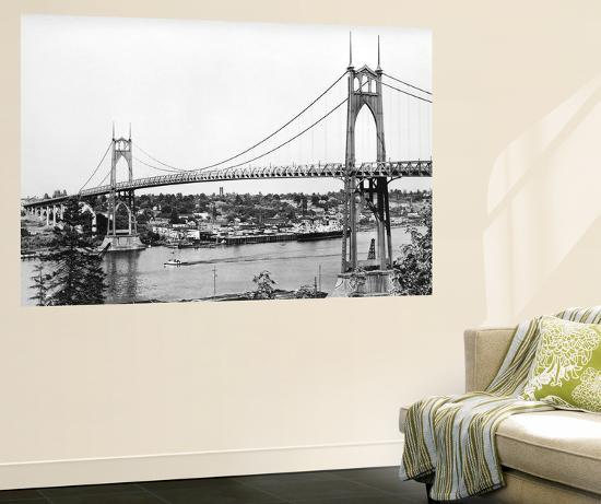 Portland, OR View of St. John Bridge over Columbia Photograph - Portland, OR-Lantern Press-Wall Mural