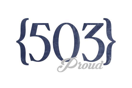 Portland, Oregon - 503 Area Code (Blue)-Lantern Press-Art Print
