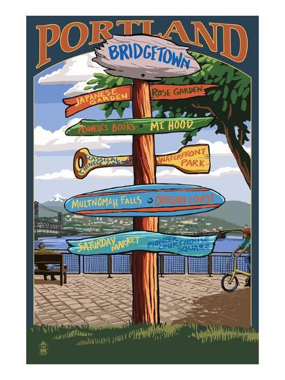 Portland, Oregon Destinations Sign - Powell's Books-Lantern Press-Art Print