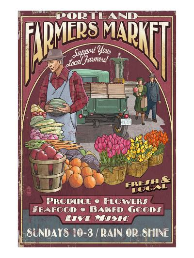 Portland, Oregon - Farmer's Market-Lantern Press-Art Print