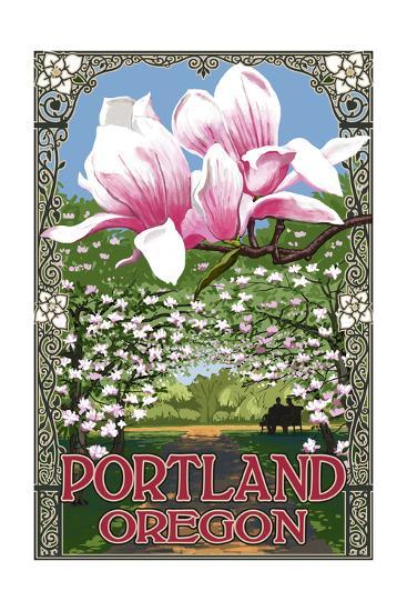 Portland, Oregon - Garden and Magnolia Scene-Lantern Press-Art Print