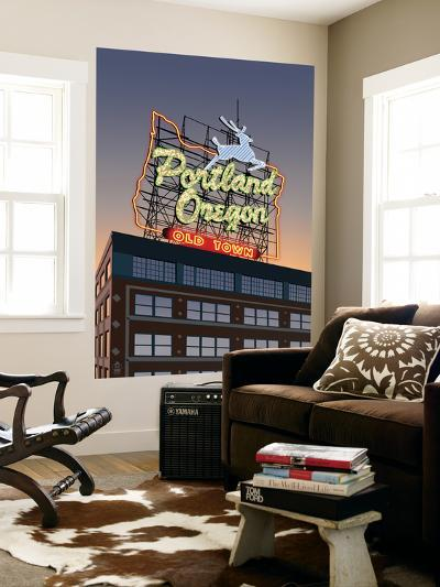 Portland, Oregon - Made in Oregon Sign, c.2009-Lantern Press-Wall Mural