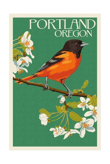 Portland, Oregon - Oriole-Lantern Press-Art Print