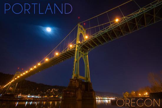 Portland, Oregon - St. Johns Bridge and Moon-Lantern Press-Wall Mural