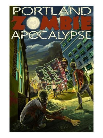 Portland, Oregon - Zombie Apocalypse-Lantern Press-Art Print