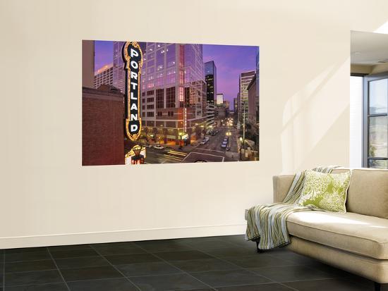 Portland Sign at the Arlene Schnitzer Concert Hall on Broadway, Portland, Oregon, USA-Janis Miglavs-Giant Art Print