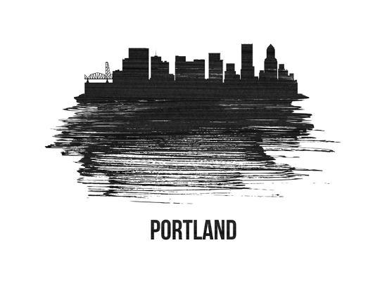 Portland Skyline Brush Stroke - Black II-NaxArt-Art Print