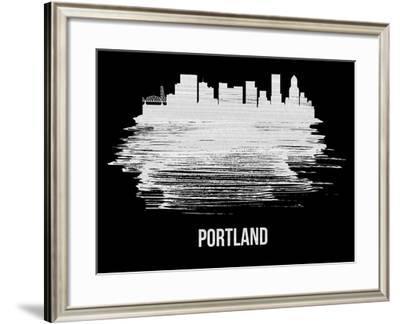 Portland Skyline Brush Stroke - White-NaxArt-Framed Art Print