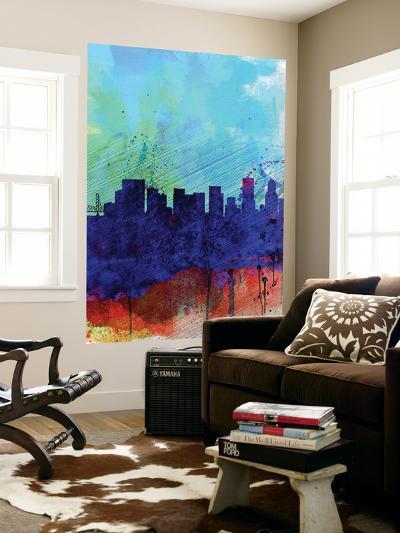 Portland Watercolor Skyline-NaxArt-Wall Mural