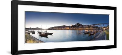 Porto Wine Carrying Barcos, River Douro and City Skyline, Porto, Portugal-Michele Falzone-Framed Photographic Print