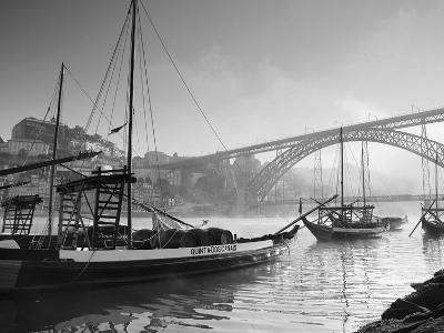 Porto Wine Carrying Barcos, River Douro and City Skyline, Porto, Portugal-Michele Falzone-Photographic Print