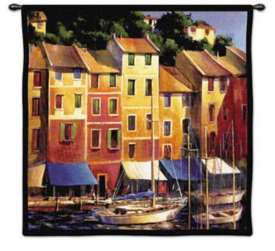 Portofino Waterfront-Michael O'Toole-Wall Tapestry