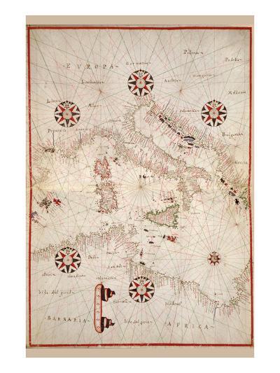 Portolan Atlas of the Mediterranean Sea, Western Europe, and the Northwest Coast of Africa-Joan Oliva-Art Print
