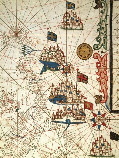 Portolan Chart Depicting the Cities of Venice, Genoa and Marseille--Giclee Print
