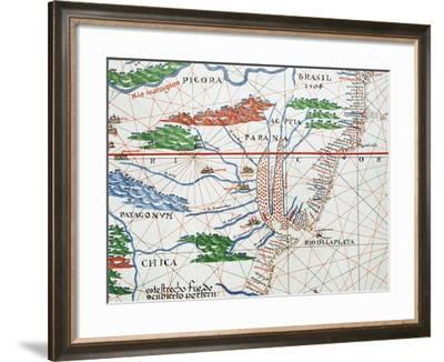 Portolan, Detail of South America, Atlantic Coast, 1587-Joan Martines-Framed Giclee Print