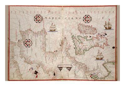 Portolan Map of Spain, England, Ireland and France-Joan Oliva-Art Print
