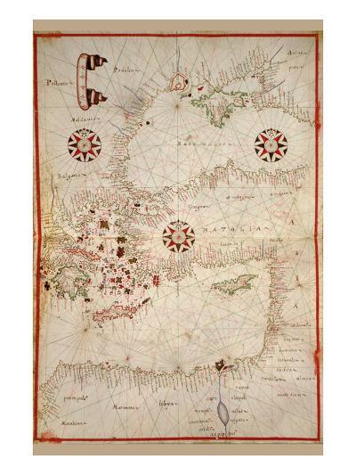 Portolan Map of Turkey, Mediterranean, Adriatic and the Agean-Joan Oliva-Art Print
