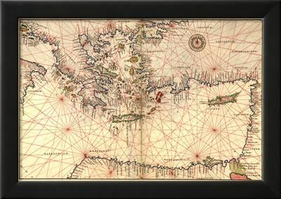 Portolan Or Navigational Map Of Greece The Mediterranean And The Levant Art Print Battista Agnese Art Com