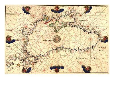 Portolan or Navigational Map of the Black Sea Showing Anthropomorphic Winds-Battista Agnese-Art Print