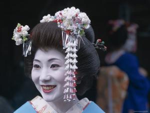 Portrait, Apprentice Geisha (Maiko), Woman Dressed in Traditional Costume, Japan