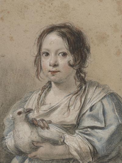 Portrait d'Angélique Vouet vers cinq ans tenant une colombe-Simon Vouet-Giclee Print
