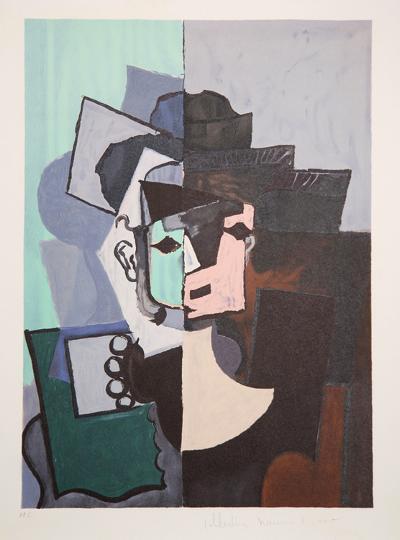 Portrait de Face sur Fond Rose et Vert, J-113-Pablo Picasso-Premium Edition