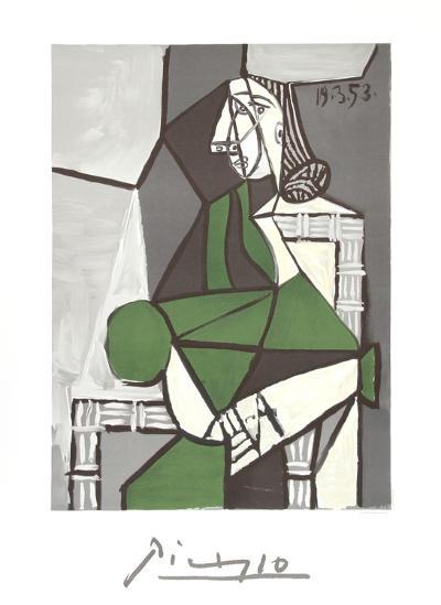 Portrait de Femme Assise, Robe Verte-Pablo Picasso-Collectable Print
