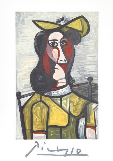 Portrait de Femme Au Chapeau et A La Robe Vert Jaune-Pablo Picasso-Collectable Print