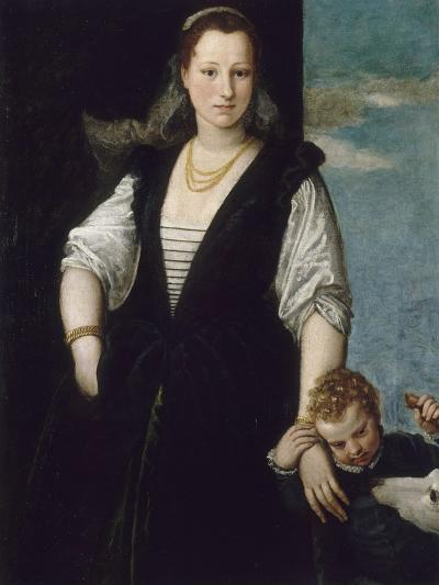 Portrait de femme avec un enfant et un chien (les enfants de Francesco Bevilacqua ?)-Paolo Veronese-Giclee Print