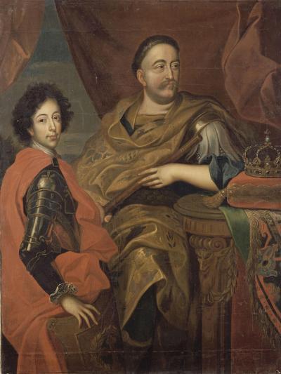 Portrait de Jean III Sobieski, roi de Pologne et d'un de ses fils, Jacques-Louis (1629-1696)-Alexandre Jan Tricius-Giclee Print