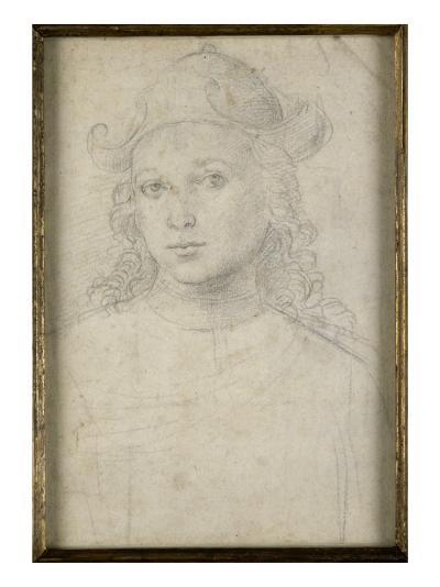 Portrait de jeune homme, en buste, vu de face, coiffé d'un chapeau-Raffaello Sanzio-Giclee Print