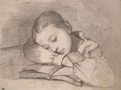 Portrait de Juliette Courbet endormie sur son livre-Gustave Courbet-Giclee Print