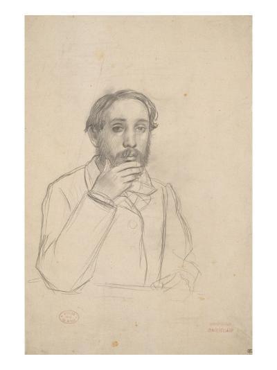 Portrait de l'artiste, étude pour le portrait de l'artiste avec Evariste de Valernes-Edgar Degas-Giclee Print