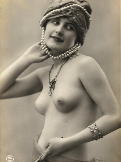 Portrait of a Barebreasted Young Woman, Wearing a Pearl-Decorated Hat--Photographic Print