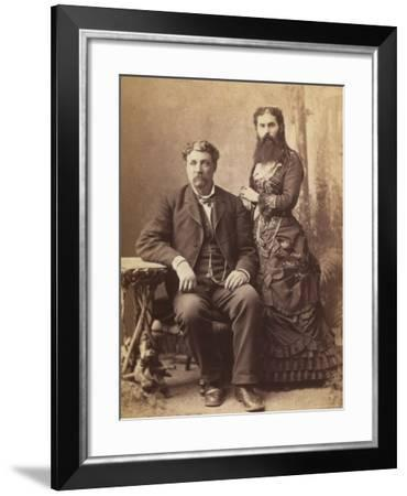 Portrait of a Bearded Woman Next to Her Husband--Framed Photographic Print