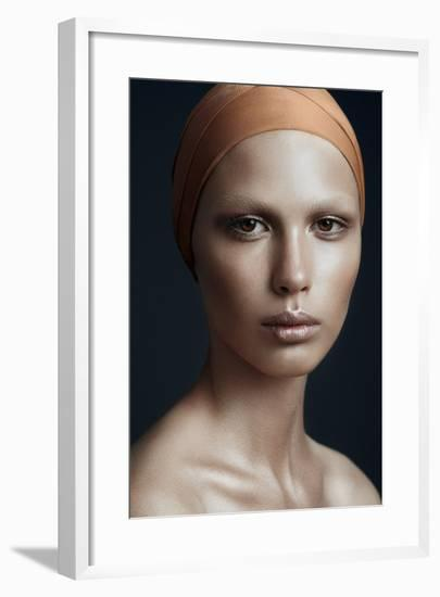Portrait of a Beautiful Girl with a Bandage on His Head, the Concept of Beauty-Yuliya Yafimik-Framed Photographic Print