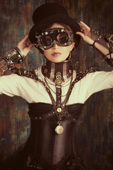 Portrait Of A Beautiful Steampunk Woman Over Grunge Background Art Print Prometeus Art Com