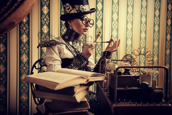 Portrait Of A Beautiful Steampunk Woman Over Vintage Background-prometeus-Art Print