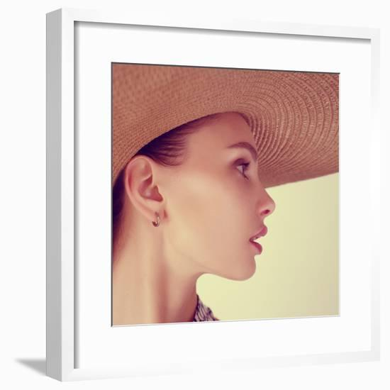 Portrait of a Beautiful Young Brunette Woman in a Hat-Yuliya Yafimik-Framed Photographic Print