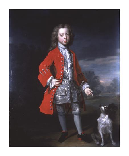 Portrait of a Boy And Spaniel-Charles D'agat-Premium Giclee Print