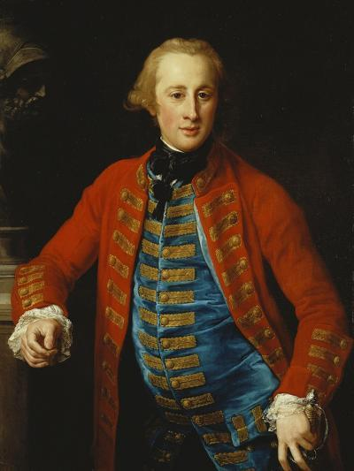 Portrait of a Cavalry Officer in Walking-Out Dress, Three-Quarter Length, Leaning on a Pedestal?-Pompeo Batoni-Giclee Print