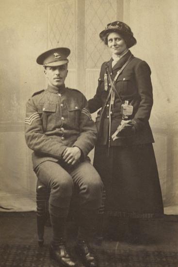 Portrait of a Couple in Uniform, World War I--Photographic Print