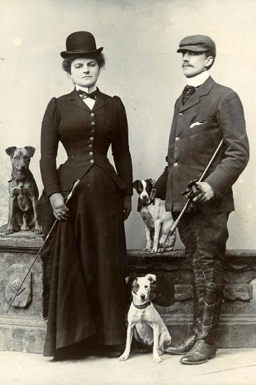 Portrait of a Couple with Dogs--Photographic Print