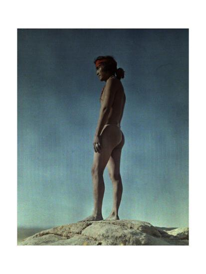 Portrait of a Hopi Indian Standing on a Rock-Franklin Price Knott-Photographic Print