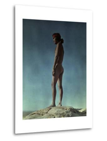 Portrait of a Hopi Indian Standing on a Rock-Franklin Price Knott-Metal Print