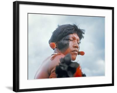 Portrait of a Kamayura Indian, Xingu, Brazil, South America-Robin Hanbury-tenison-Framed Photographic Print