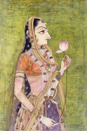 Portrait of a Lady Holding a Lotus, C. 1740-1750 (W/C on Pink Coloured Paper)