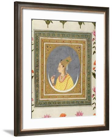 Portrait of a Lady Holding a Lotus Petal, from the Small Clive Album, C.1750-60-Mughal-Framed Giclee Print