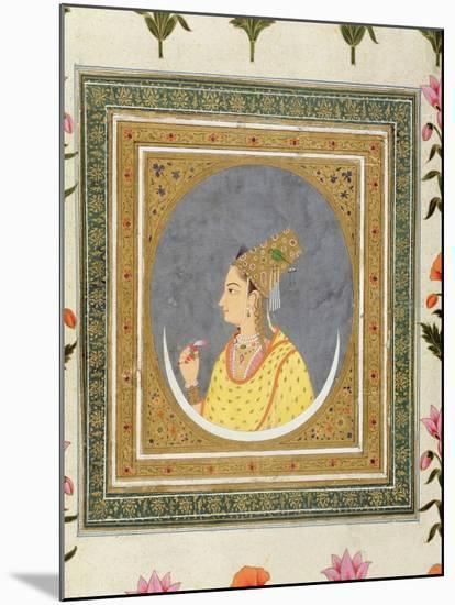 Portrait of a Lady Holding a Lotus Petal, from the Small Clive Album, C.1750-60-Mughal-Mounted Giclee Print