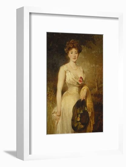Portrait of a Lady in a White Dress-George Elgar		 Hicks-Framed Giclee Print